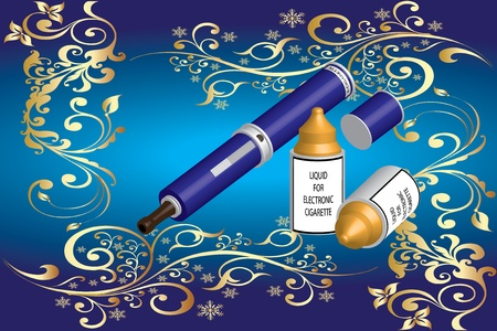 tobacco product: electronic cigarette and liquid  Illustration