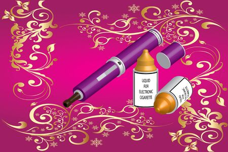 background e cigarette: electronic cigarette and liquid  Illustration