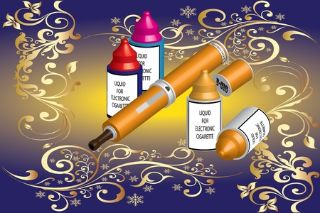 electronic cigarette and liquid Stock Vector - 15375751