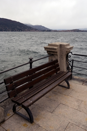 Bench on Lake Maggiore, Stresa - Italy photo