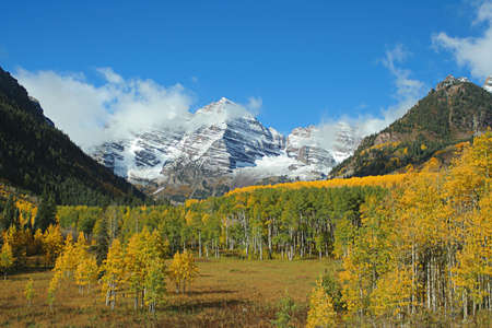 Maroon Bells valley Stock Photo