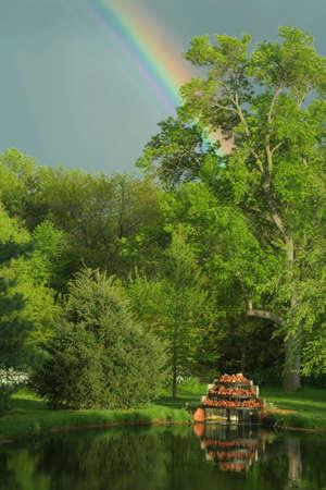 nebraska: rainbow, Bottle Creek Retreat, Nebraska Stock Photo