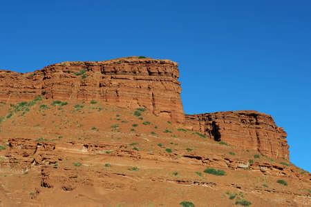 red rocks, blue sky; Wyoming