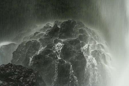 waterfall spray on rock