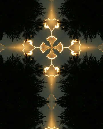 kaleidoscope cross1: tree silhouette, Nebraska morning 版權商用圖片