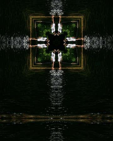 kaleidoscope cross:  young woman wading