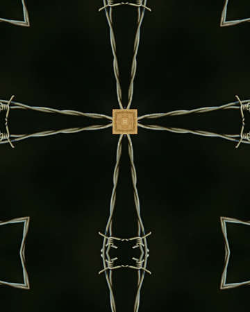 kaleidoscope cross:  barbed wire photo