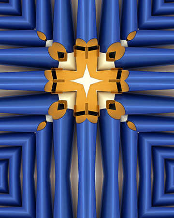 kaleidoscope cross:  blue organ pipes; Queen of Angels Monastery, Mt. Angel, oregon