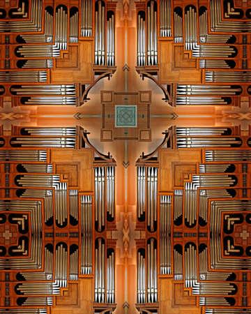 kaleidoscope cross:  pipe organ, Mt. Angel Abbey, Oregon