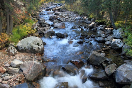 mountain stream filled with large rocks