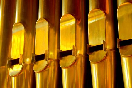gold organ pipes Stock Photo