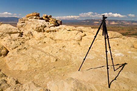 tripod on Chimney Rock, New Mexico 版權商用圖片