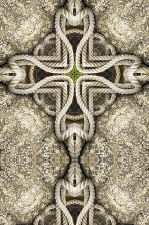 kaleidoscope cross: heavy rope on rock Imagens