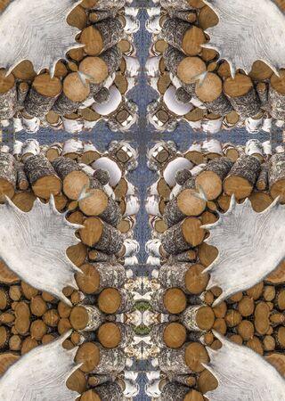 kaleidoscope cross: firewood logs and moose antlers, Newfoundland