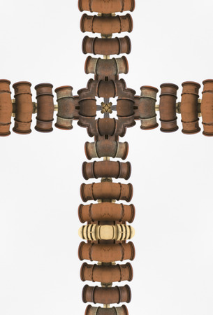 kaleidoscope cross: row of clay chimneys, St. Johns, Newfoundland
