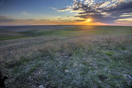 캔자스에서 플린트 힐스 일몰, 이른 봄 스톡 콘텐츠