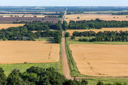 rural gravel road in Kansas; view from Coronado Heights Park Stock Photo