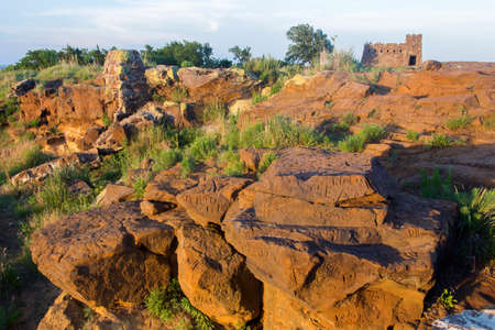 sandstone formations and castle at Coronado Heights, Kansas