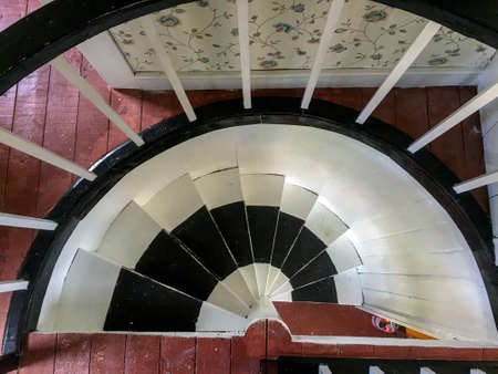 black and white wood spiral staircase, Newfoundland Banque d'images - 106574225