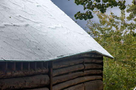 snow-covered roof on shed, Wyoming ranch