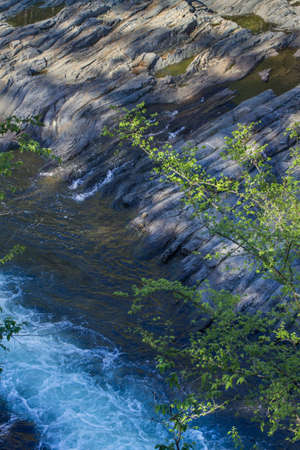 rapids and rock formation by Mountain Fork River, southeast Oklahoma