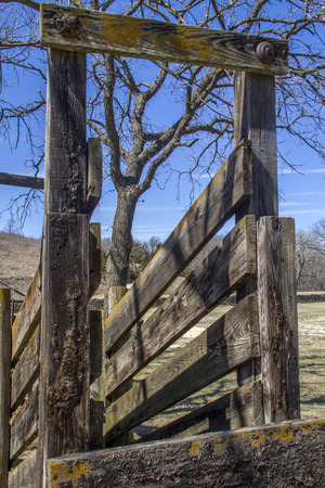 old wood cattle chute in rural Kansas