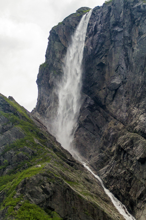 Pissing Mare Falls at Western Brook Pond, Newfoundland