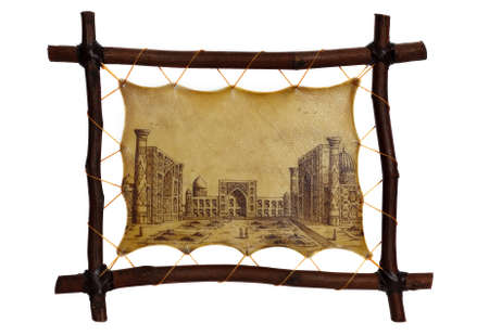 registan: The image of old Samarkand on a skin piece. Isolated on white.