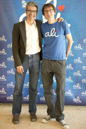 alvaro: Seville, Spain May 16: (LR) Executive producer Alvaro Alonso and director and writer Paco R. Ba?in the presentation of the film Ali in Tres Culturas Foundation in Seville, Spain