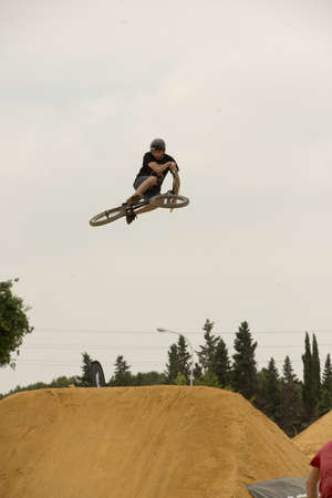 dirt bike: SEVILLE, SPAIN May 26: Training for the end of the Dirt Bike Jump Competition at 1st bike festival in Andalusia in Seville, Spain.