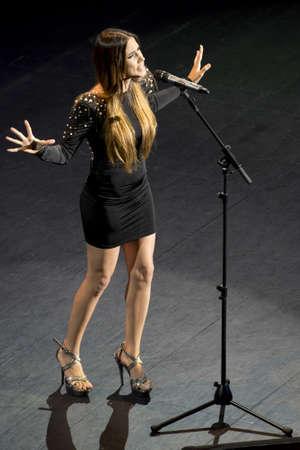SEVILLE, SPAIN - June 14: Concert Other Truths of singer India Martinez at FIBES Auditorium in Seville, Spain.