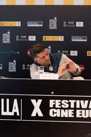 feature films: SEVILLE, SPAIN, November 9: The Bosnian screenwriter and film director Danis Tanovic attends the press conference of presentation of the film A Day in the Life of a junk-in Seville European Film Festival in Seville in Seville, Spain.