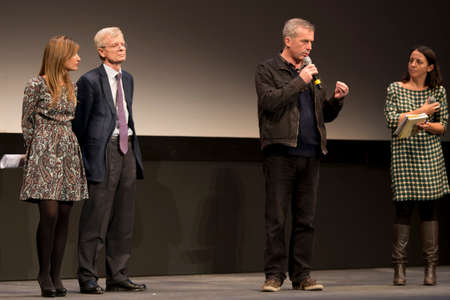 feature films: SEVILLE, SPAIN, November 9: Andre Margarie (Art Channel International Relations) and film director Bruno Dumont (L-R)  presented the film, Camille Claudel. 1915 - at the Teatro Lope de Vega in the X European Film Festival in Seville in Seville, Spain.
