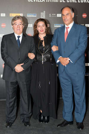 feature films: SEVILLE, SPAIN, November 9: The producer Jose Maria Morales, singer Estrella Morente and film director Joaquin Gutierrez Haca (L-R) attend the photocall before the screening of the documentary-Guadalquivir at the Teatro Lope de Vega in the X Festival Sevi