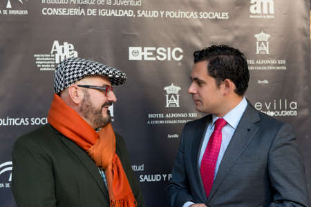 enterprising: SEVILLE, SPAIN, November 19  President of ADEMA Felipe Vivas and Dr  of Andalusian Institute  of Youth  IAJ  Raul Perales  L-R  attends the photocall for the presentation of the XI ediction of -Andalucia de Moda- in Alfonso XIII Hotel of Seville, Spain