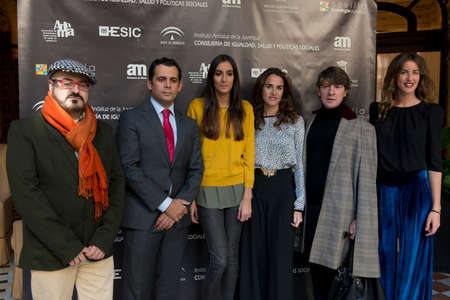 enterprising: SEVILLE, SPAIN, November 19  President of ADEMA Felipe Vivas, Dr  of IAJ Raul Perales, Amanda Perralta, Panambi representative, Designer Daniel Carrasco and Panambi representative  L-R  attends the photocall for the presentation of the XI ediction of -And
