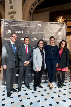 enterprising: SEVILLE, SPAIN, November 19  Rafael Gonzalez, Raul Perales, Francis Delgado, Raquel Revuelta and Leticia Martin  L-R  attends the photocall for the presentation of the XI ediction of -Andalucia de Moda- in Alfonso XIII Hotel of Seville, Spain