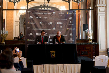 enterprising: SEVILLE, SPAIN, November 19  Felipe Vivas and Raul Peraldes  L-R  attends the presscall for the presentation of the XI ediction of -Andalucia de Moda- in Alfonso XIII Hotel of Seville, Spain