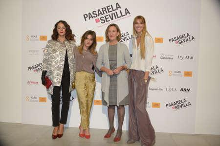 councilor: SEVILLE, SPAIN, November 28: Monica Estarresdo, Maria Leon, xxx and Laura Sanchez atends the photocall of Pasarela Sevilla in Seville, Spain.