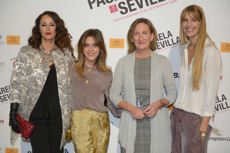 councilor: SEVILLE, SPAIN, November 28: Actresses Monica Estarresdo and Maria Leon,  xpolitical Maria del Mar Sanchez Estrella and the top model Laura Sanchez  (L-R)atends the photocall of Pasarela Sevilla in Seville, Spain. Editorial