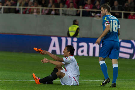 bacca: SEVILLE, SPAIN, DECEMBER 15  Bacca with a boot in hand in the match between Sevilla - Athletic Bilbao, week 16 of the Premier League in the Sanchez Pizjuan stadium held on December 15, 2013 in Seville, Spain