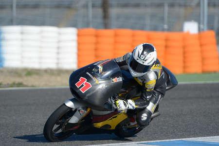 moto2: JEREZ DE LA FRONTERA, SPAIN, 18 FEBRUARY 2014  Livio Loi during the training at the racetrack of Moto 2 2014 in Jerez, Spain