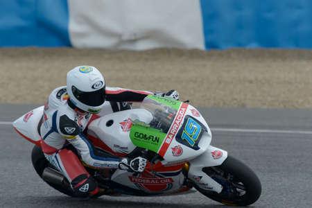 moto2: JEREZ DE LA FRONTERA, SPAIN, 18 FEBRUARY 2014  XAVIER SIMEON during the training of Moto2 2014 at the racetrack in Jerez, Spain