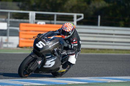 moto2: JEREZ DE LA FRONTERA, SPAIN, 18 FEBRUARY 2014  Johann Zarco during the training at the racetrack of Moto 2 2014 in Jerez, Spain