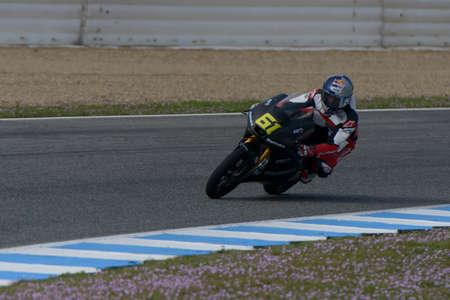 moto2: JEREZ DE LA FRONTERA, SPAIN, 18 FEBRUARY 2014  Arthur Sissis during training of Moto 3 2014 at the racetrack in Jerez, Spain Editorial
