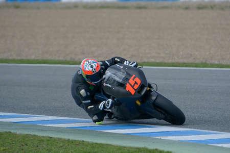 JEREZ DE LA FRONTERA, SPANJE, 18 FEBRUARI 2014 training op de renbaan in Jerez, Spanje Foto Carlos Bouza Redactioneel