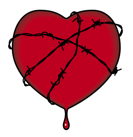Heart surrounded by barbed wire Ilustração