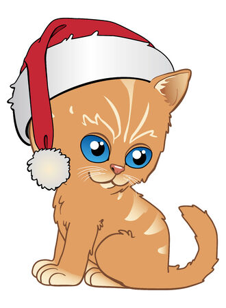 Kitten with santas cap Vector