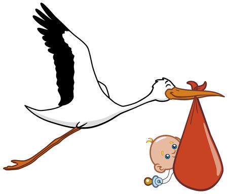 cigogne: Stork et le nouveau-n�  Illustration