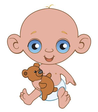 infantile: Baby with plush bear